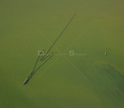 Aerial view of fishing nets in Kinabatangan river,  Sabah, Borneo, Malaysia 2007