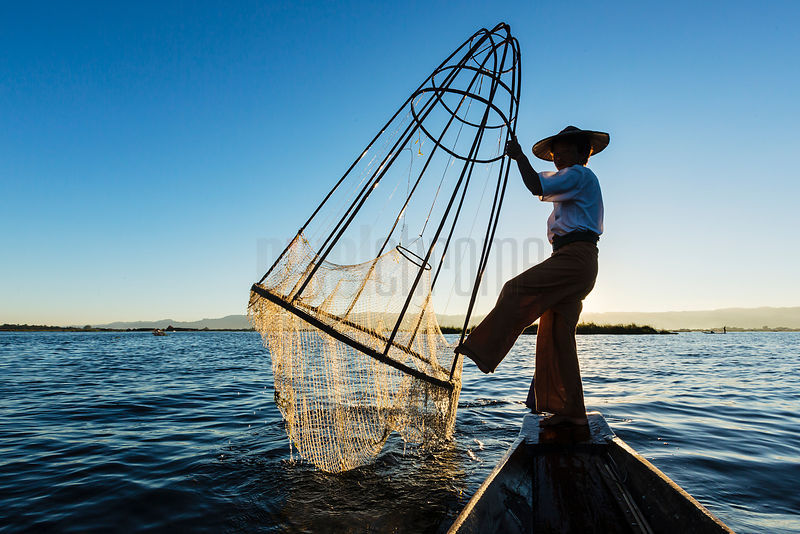 Fisherman Raising Net