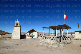 Guallatiri village church and square, Las Vicuñas National Reserve, Region XV, Chile