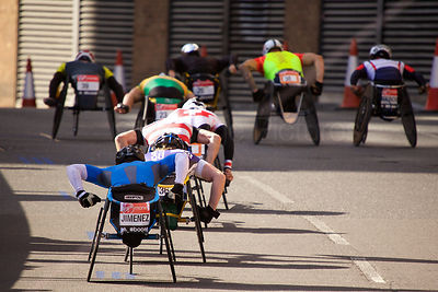 The Leading Pack in the Men's Wheelchair Event at The 2014 Virgin London Marathon