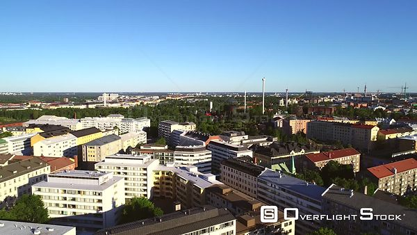 Helsinki City, Uhd Aerial View of Kallio and Linnanmaki Amusement Park, on a Sunny Summer Morning Dawn, in Helsingfors, Uusim...