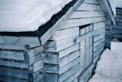 Wood shelter in winter