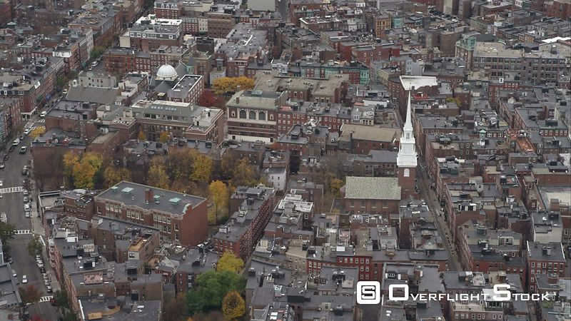 Past North End Boston  Old North Church in Mid-frame. Shot in November