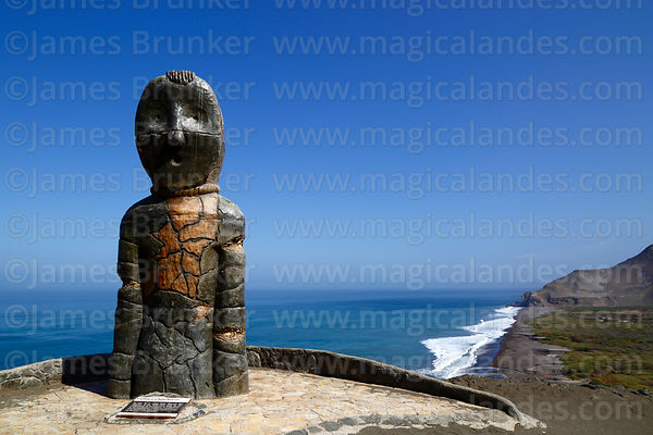 Modern statue of Chinchorro mummy on headland above Bahia Camarones, Region XV, Chile