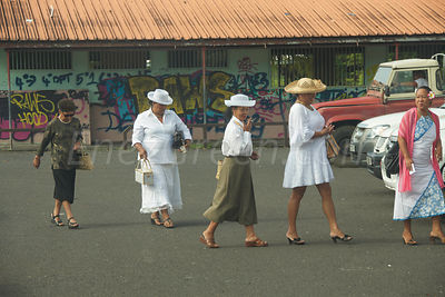 Tahitian ladies going to church