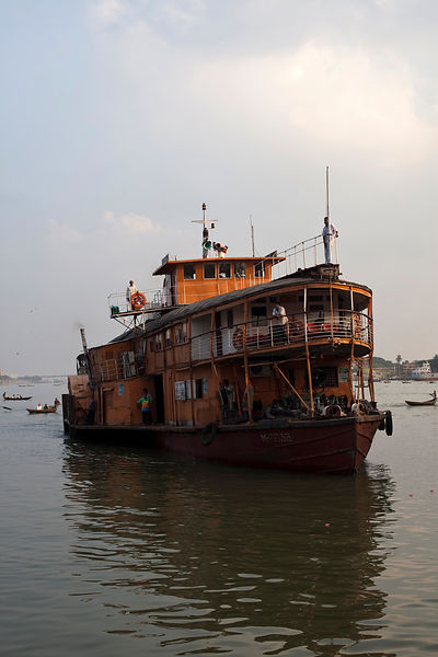 Bangladesh - Dhaka - A passenger ferry coming into dock at Sadarghat ferry terminal