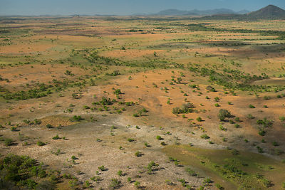 Aerial view of Rupununi savanna, Guyana, South America