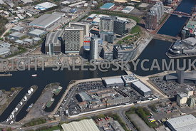 Manchester  aerial photograph of Media City the BBC and ITV Granada Studio looking from the Coronation Street production set ...