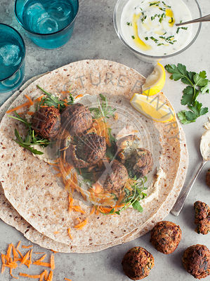 Falafel Wraps with hummus and tzatziki