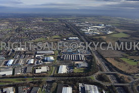 Skelmersdale high level aerial view of junction 4 off of the M58 motorway and Glenburn road showing Gillibrand road and the I...