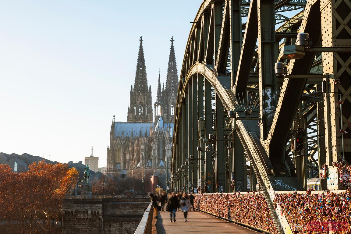 Hohenzollern Bridge and cathedral, Cologne, Germany