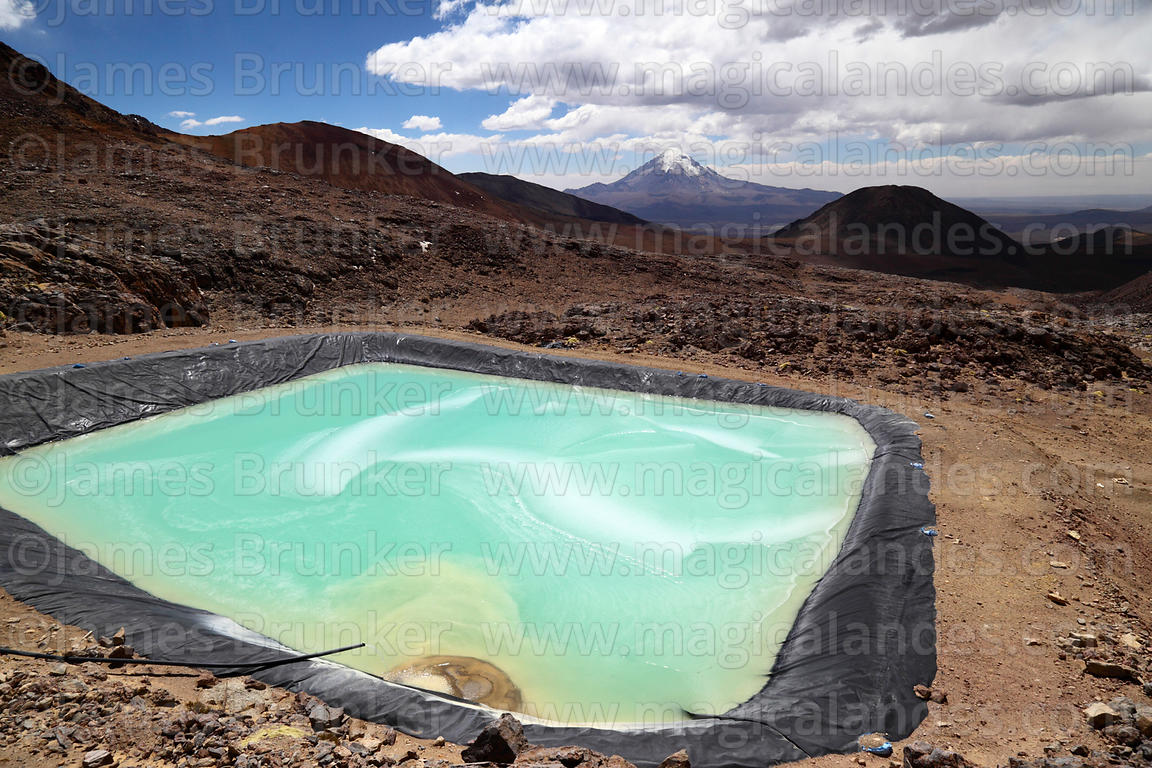 Settling basin (part of the Capurata mining project to extract sulphur) on flanks of Acotango volcano, Oruro Department, Bolivia