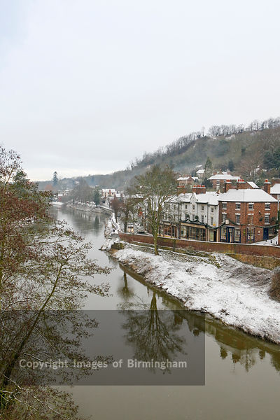 The River Severn in Ironbridge, Telford, Shropshire in snow during Winter.