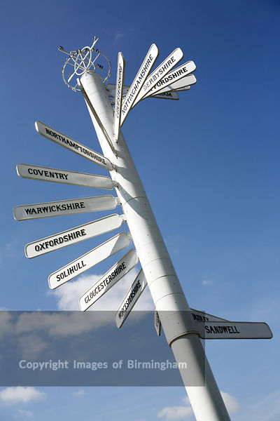 Finger Post at Birmingham Airport pointing the way to local towns and councties in the Midlands, England, UK.