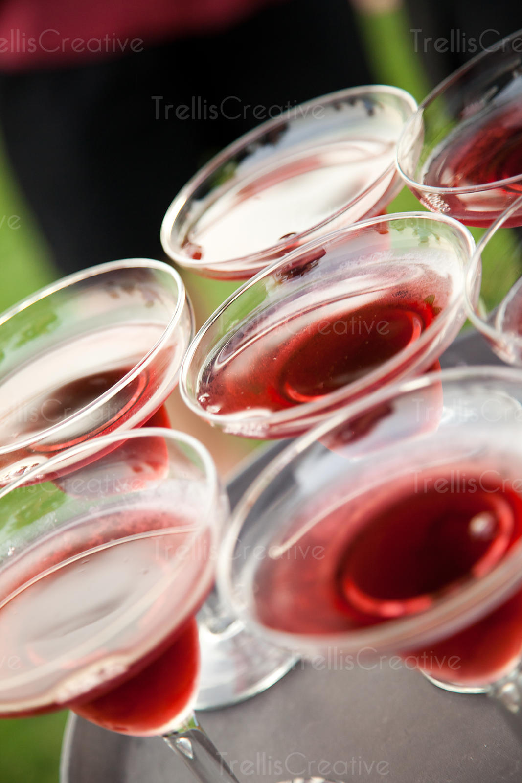 A tray of pomegranate martinis at an elegant party