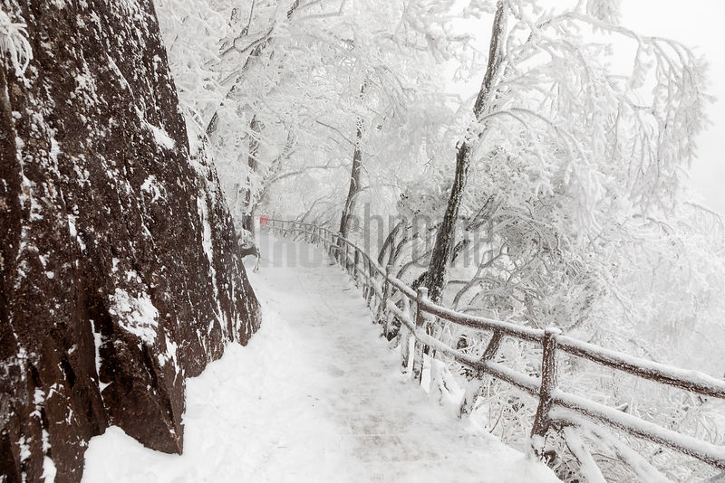 Trail through Huangshan Mountains after Heavy Snowfall