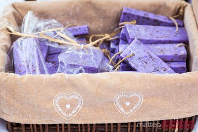 Lavender soap for sale at local market, Provence, France