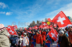 The Finish Area in Salastrains at Ski World Cup Ladies Event 2010 in Saint Moritz on Corviglia Salastrains