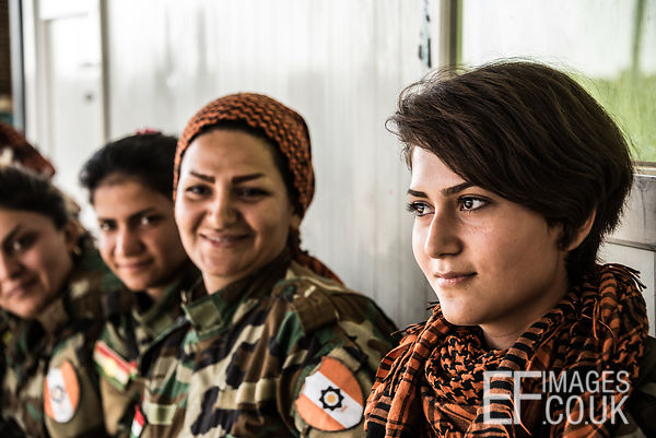 PAK (Kurdistan Freedom Party) female fighters, a mother and daughter, at their base north of Hawija, where Kurdish Iranian fi...