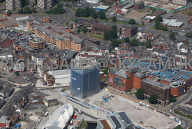Rochdale aerial photograph of the Black Box old council offices being demolished