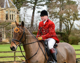 John Holliday leaving the meet at Eaton Grange. The Belvoir Hunt at Eaton Grange 7/2
