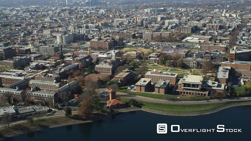 Approaching and rotating over Howard University's Upper Quadrangle in Washington DC, McMillan Reservoir in foreground. Shot i...