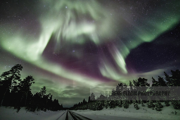 Bright northern lights in Inari, Finnish Lapland