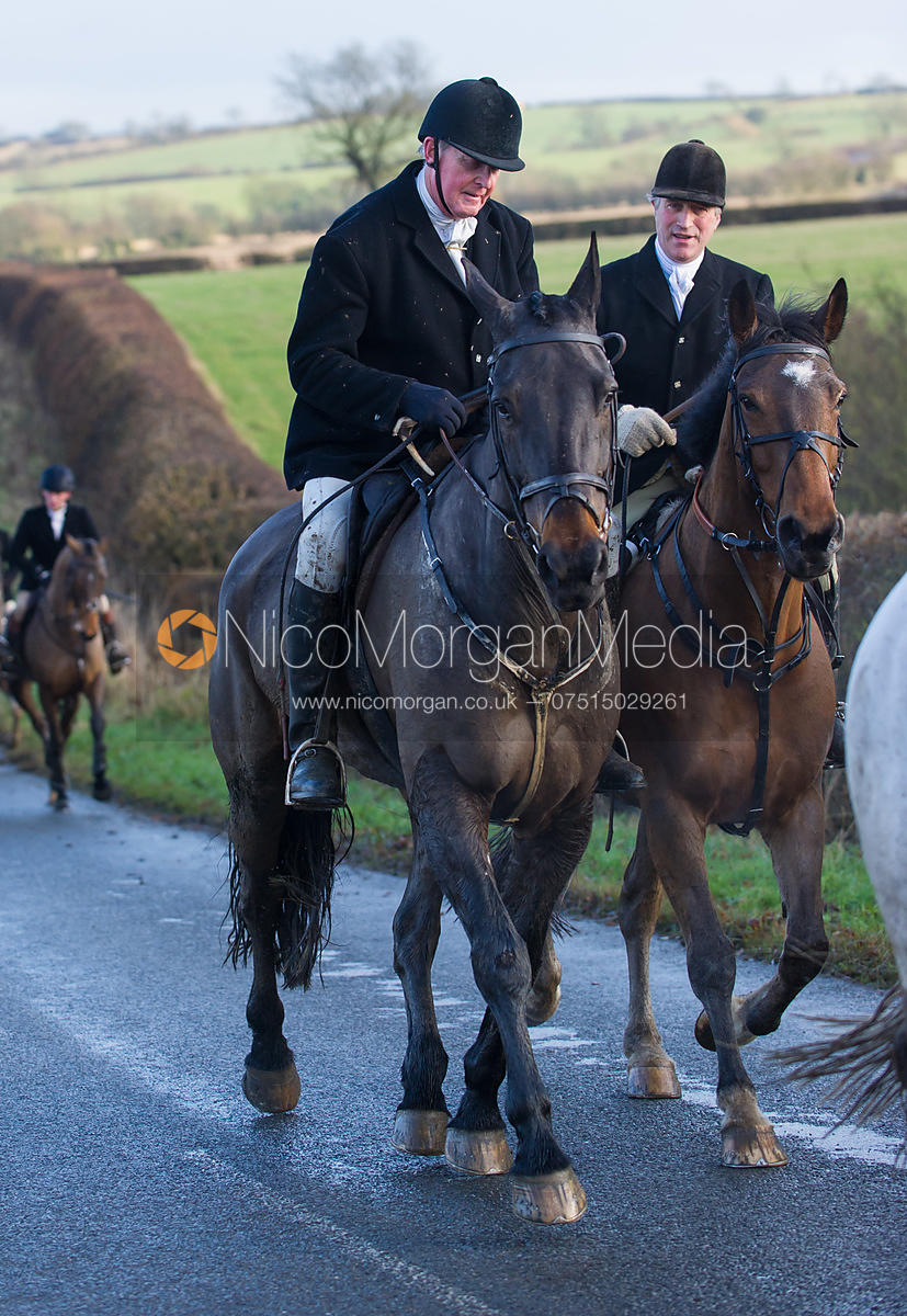 Nick Townsend and Peter Cooke - Cottesmore Hunt at Deane Bank Farm 4/12/12