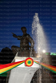Monument to Pacific War hero Eduardo Avaroa decorated with colours of Bolivian flag for Dia del Mar / Day of the Sea (23rd Ma...