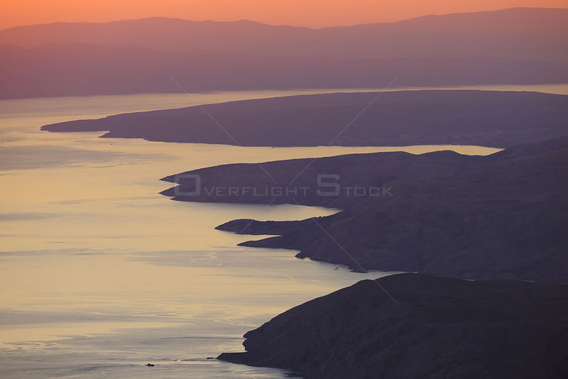 View from North Velebit National Park over island of Krk and Istria at dusk, Velebit Nature Park, Dalmatian coast, Adriatic s...
