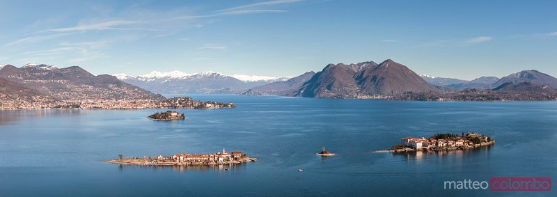 Panoramic of Borromean islands, Lake Maggiore, Italy
