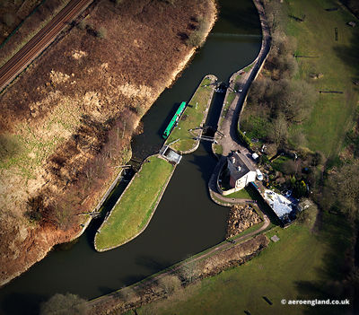 aerial photograph of Dean Lock on the Leeds Liverpool Canal  Lancashire