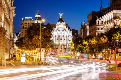 Street view at night, Madrid, Spain