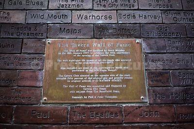 Plaque on The Cavern Wall of Fame in Mathew Street Liverpool