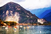 Sailboats on Lake Maggiore in Italy