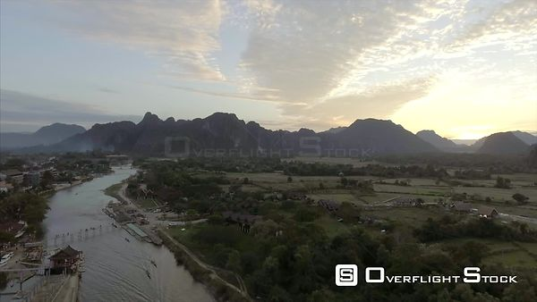 Nam Song River and Village of Vang Vieng Laos