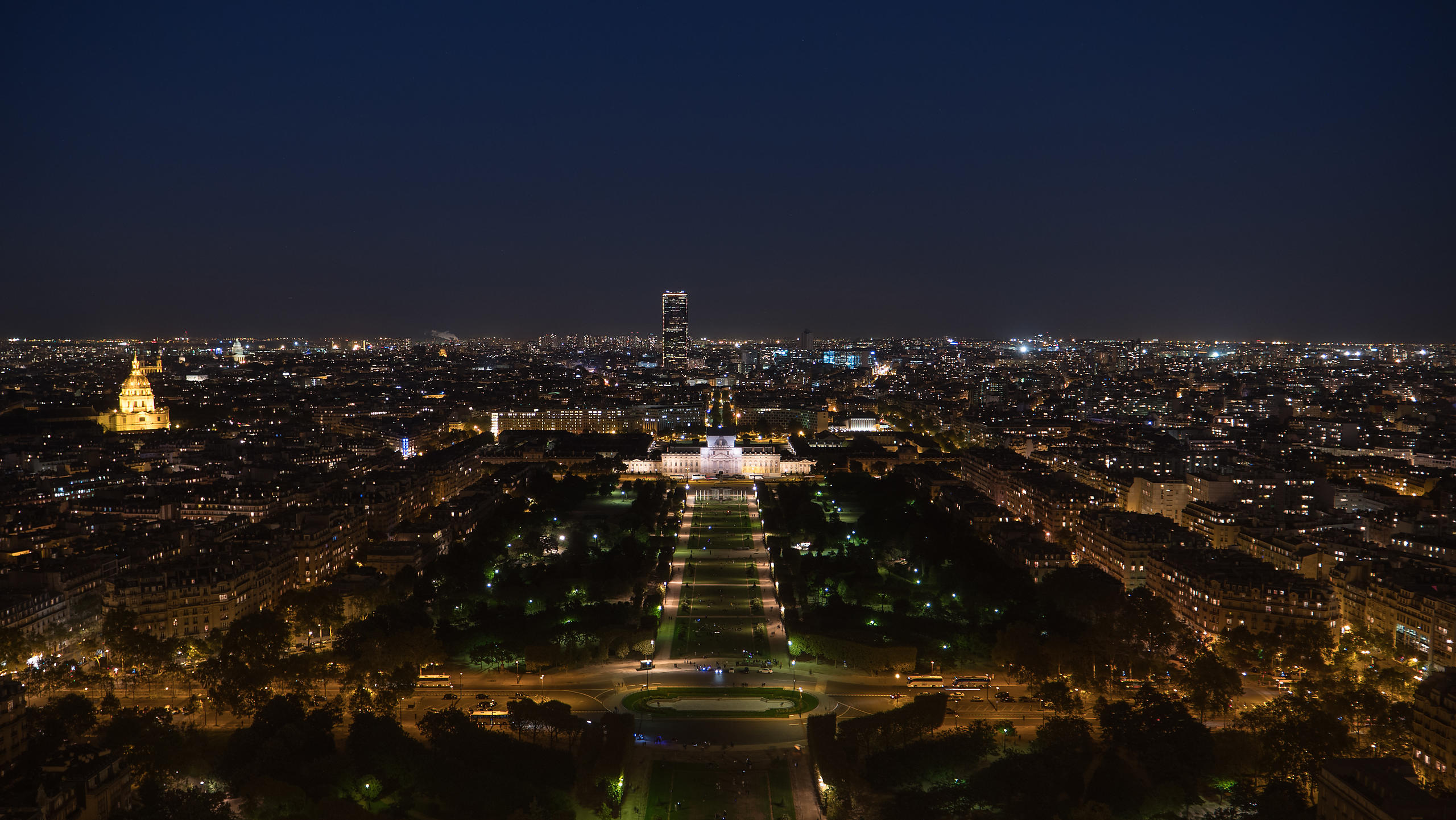 Aerial View of Paris at Night With Illuminations