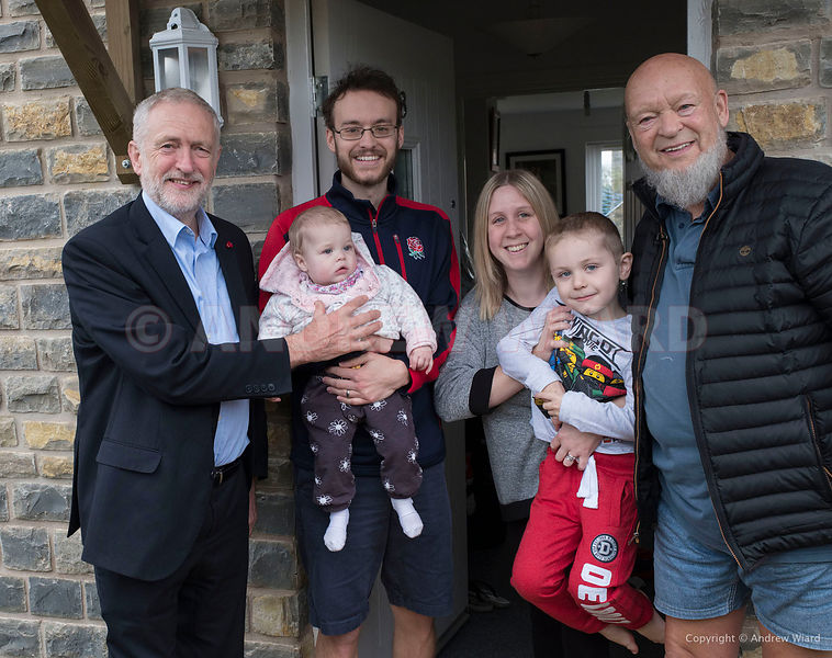 England, UK . 26.10.2017. Near Pilton, Glastonbury . Jeremy Corbyn at the official opening of 13 new cottages, houses for ren...