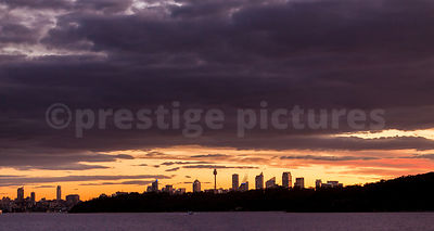 The Sydney Skyline at Sunset with Gathering Storm Clouds
