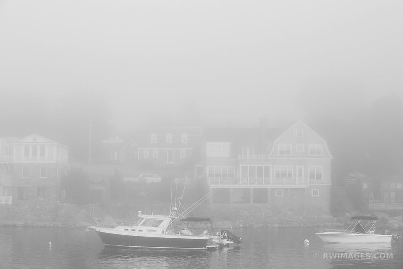 FOG ROCKPORT CAPE ANN MASSACHUSETTS BLACK AND WHITE