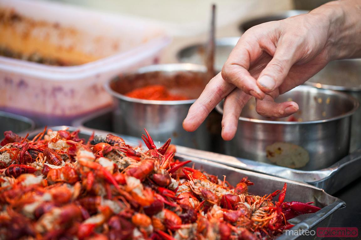 Street food in China: shrimps