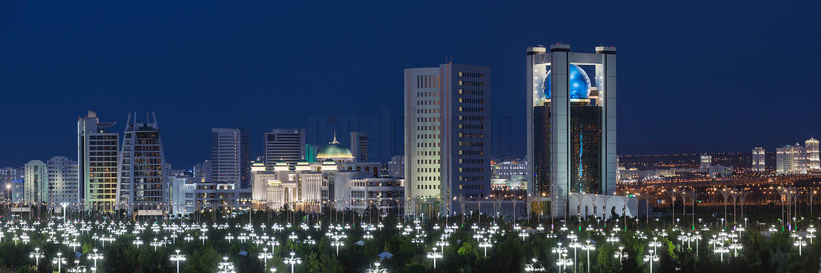 Skyline of Ashgabat at Dusk