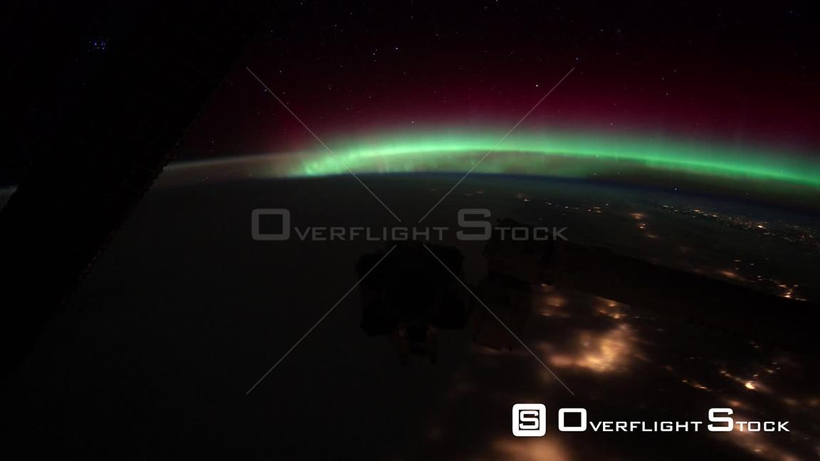 Time-Lapse from ISS over  USA Aurora Borealis 22 Jan 2012