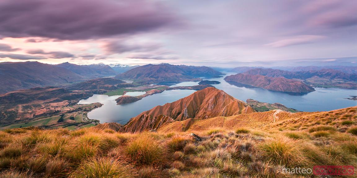 Panoramic landscape at sunset, Mt Roy, Wanaka, New Zealand