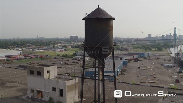 Drone Video Waterfront Industrial Detroit Michigan