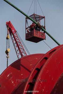 Flexible pipe is loaded to reel-lay vessel in Port of Galveston