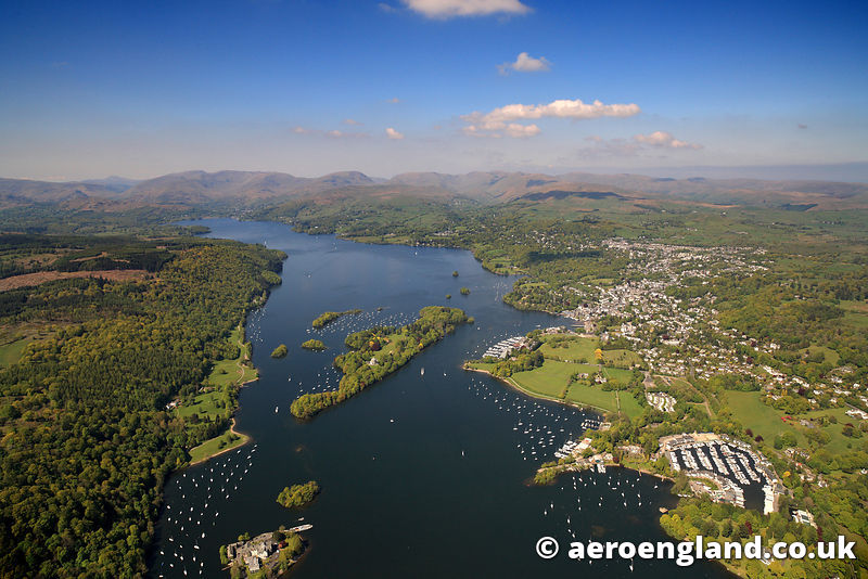 aerial photograph of Windermere inhake District  Cumbria England  UK