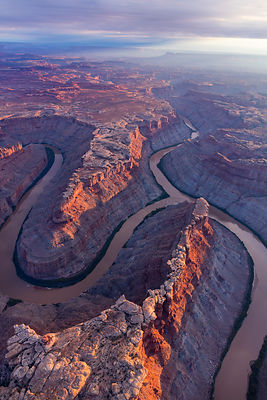 Aerial view of Junction Green and Colorado river, Canyonlands National Park, Utah, USA, September.