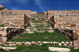 Stone terraces and main entrance steps in Early Intermediate period site of Pucará , Peru