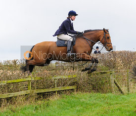 Tricia Ronane jumping at Stone Lodge Farm - The Cottesmore Hunt at Tilton on the Hill, 9-11-13